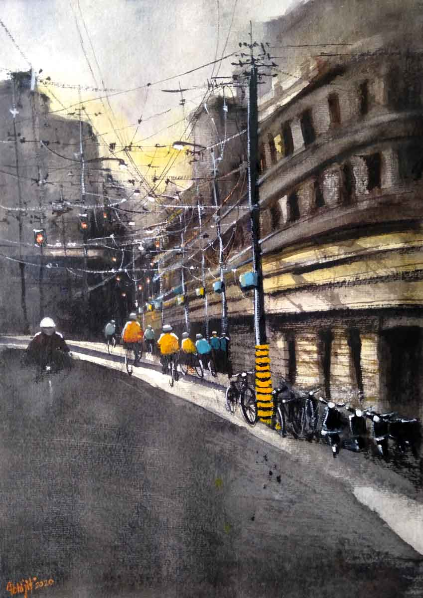 Painting of a road inside a city