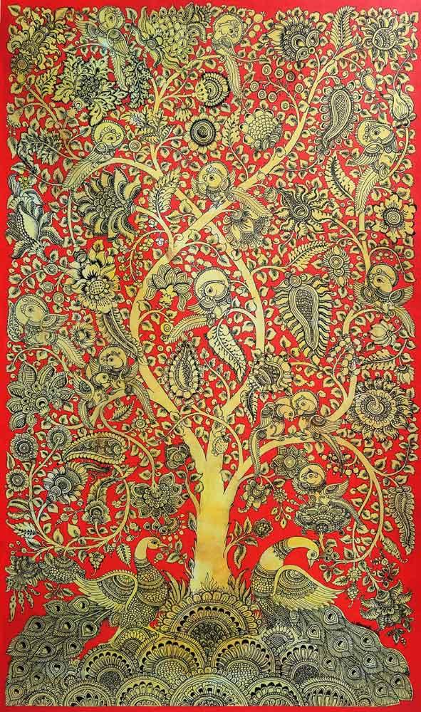 Kalamkari painting of Tree of Life on canvas