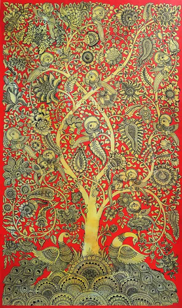 Kalamkari painting of Tree of Life on canvas