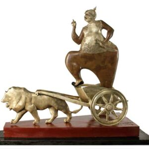 Sculpture of a king in brass