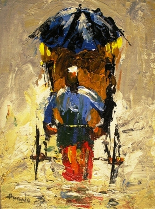 Painting of rickshaw puller on canvas