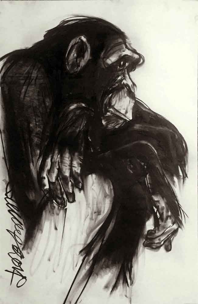 animal painting charcoal on paper