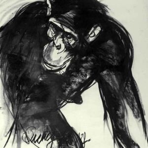 Animal painting with charcoal