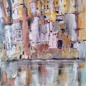 Painting of houses on paper