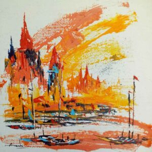 Abstract painting of Benaras on canvas