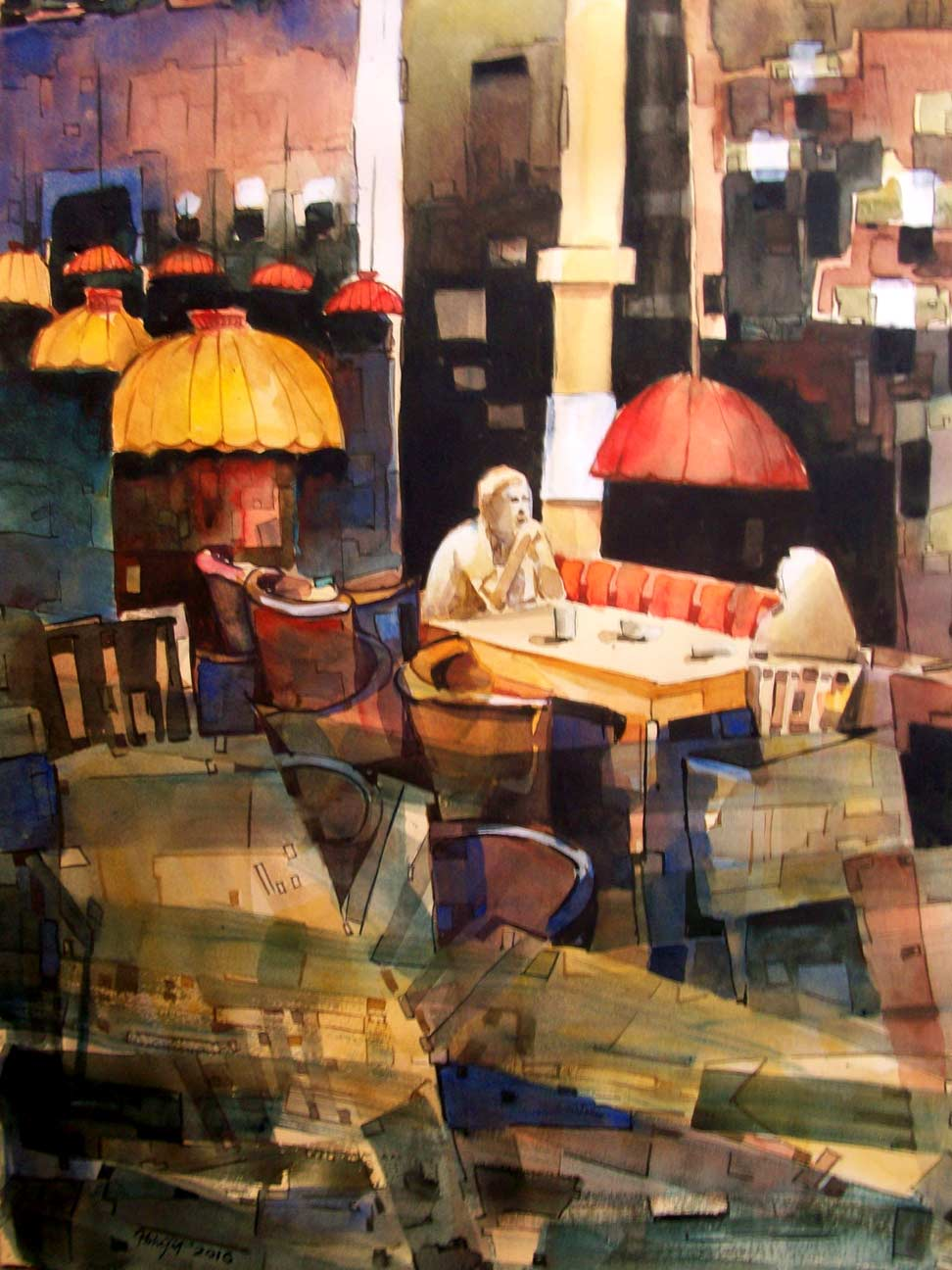 Painting in watercolour of inside a cafe