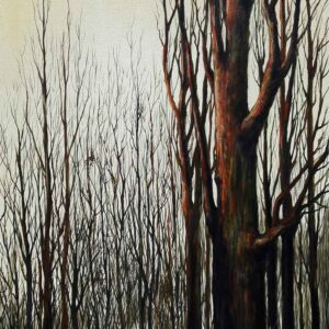 Painting of branches on canvas