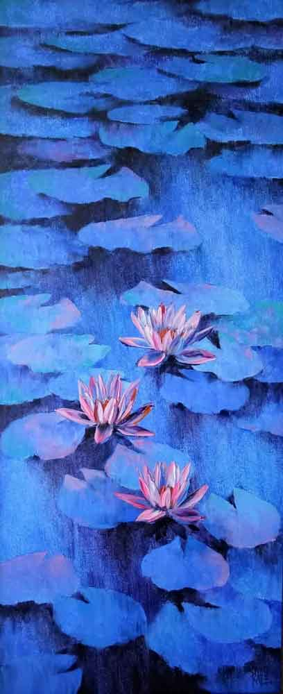 Painting of flowers on canvas