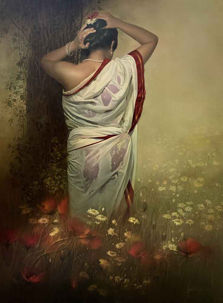 Painting of a woman in a wet saree