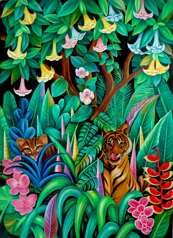 Painting of wildlife on canvas
