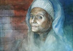 Painting depicting old age