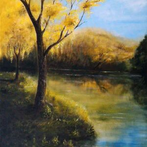 Painting of yellow tree on canvas