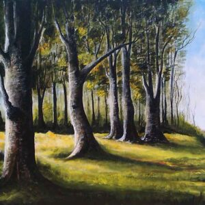 Painting of yellow woods on canvas