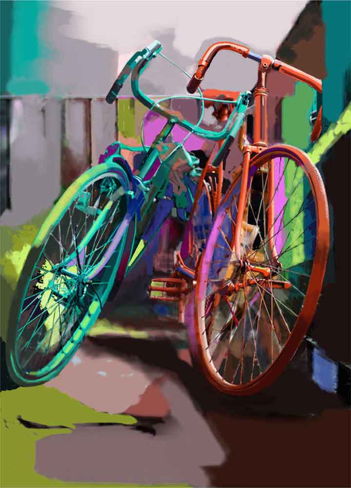 Painting of bicycle on canvas