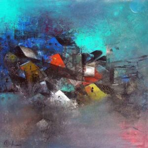 Painting of abstract on canvas in blue