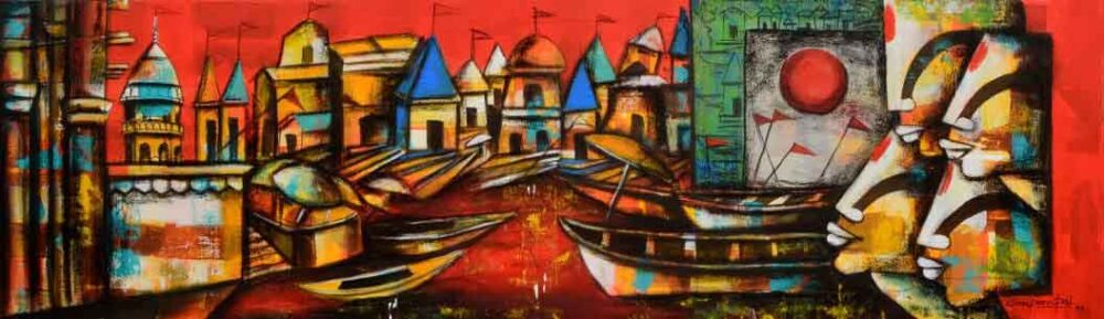 Painting of Benaras Ghat on canvas