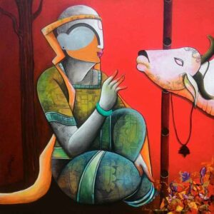 Painting of Krishna with cow on canvas