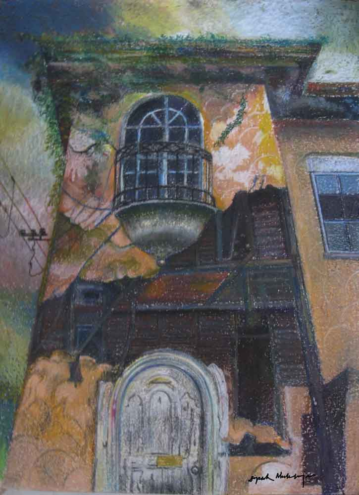 Painting of a door on paper with pastel
