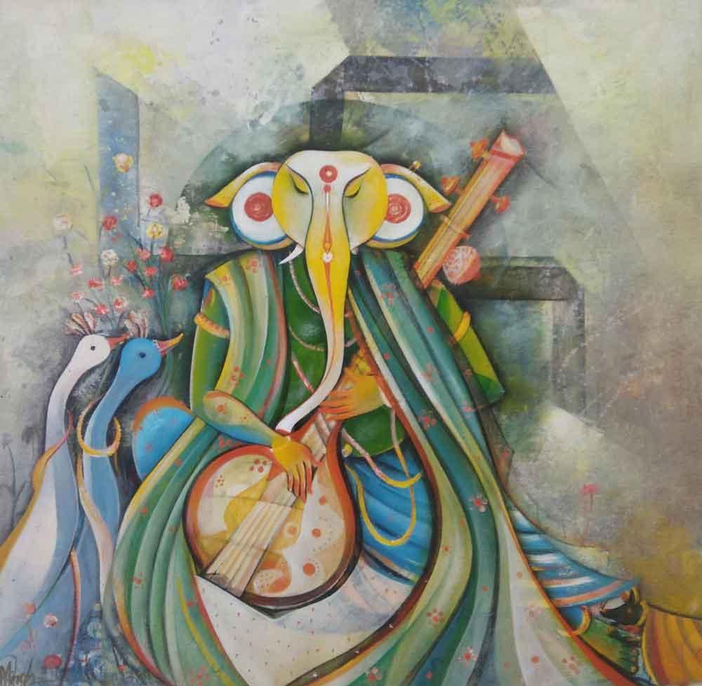 Painting of Ganesha on canvas
