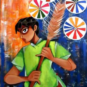 Painting of boy on canvas