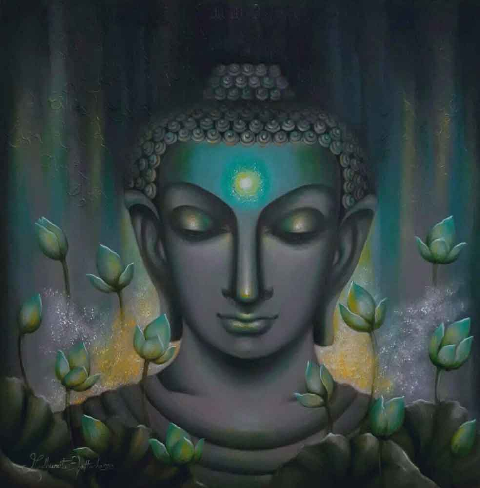Painting of Lord Buddha in blue on canvas