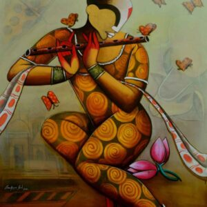 Painting of flute player