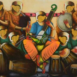 Painting of musical band on canvas