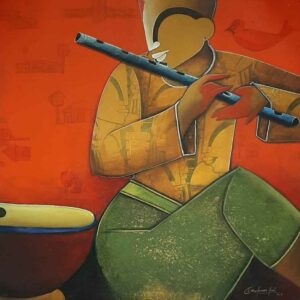 Painting of flute player on canvas