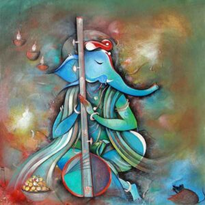 Painting of Ganesha on canvas