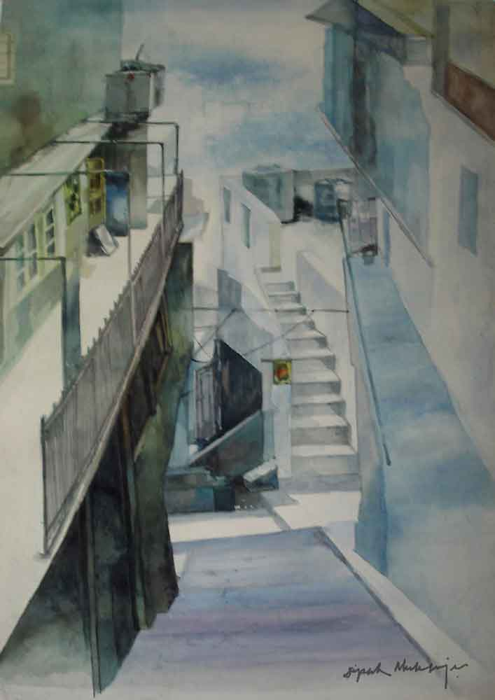 Painting of Staircase in Shimla with watercolour on paper