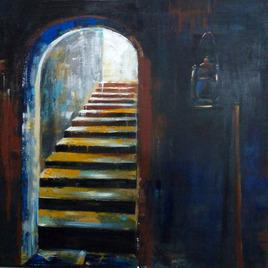 Painting of a staircase in a house