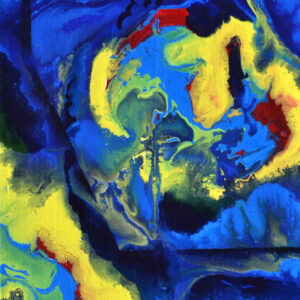 Abstract art in blue on canvas