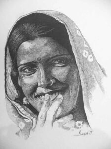 Painting of a rural woman with ink on paper