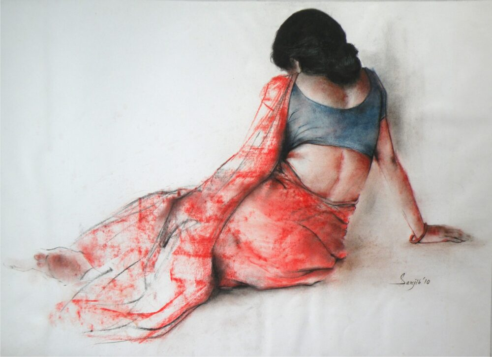 Painting of woman with pastel on paper