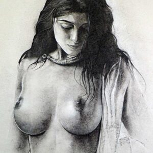Painting of a nude woman with charcoal on paper