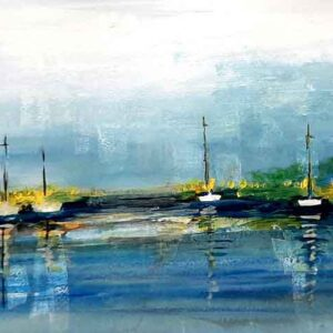 Painting of boats on paper