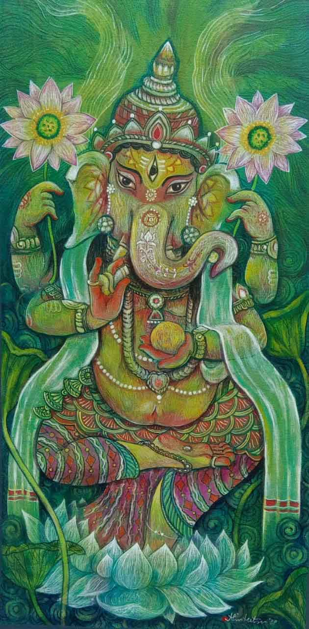 Painting of Lord Ganesh on canvas