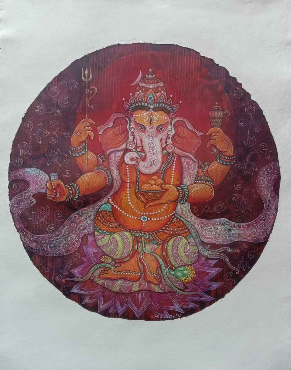 Painting of Lord Ganesh on paper