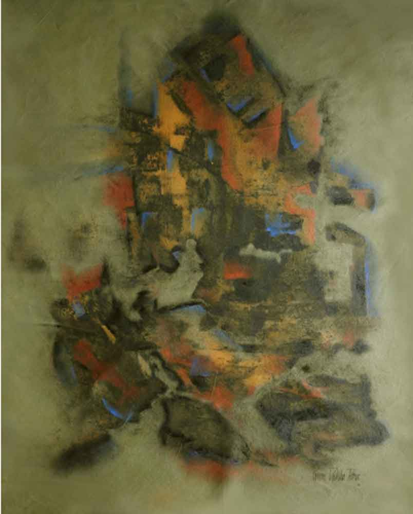 Abstract art of ganesh painted on canvas