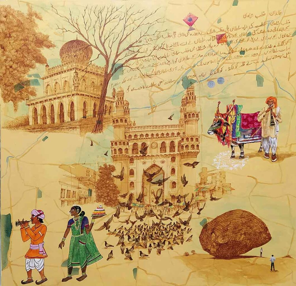 Painting of Hyderabad cityscape on canvas