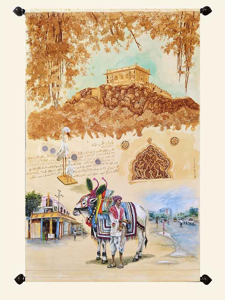 Scroll painting of Hyderabad cityscape on canvas