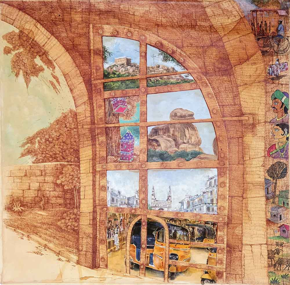 Painting on canvas of Hyderabad