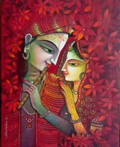 Painting of Radha and Krishna on Canvas