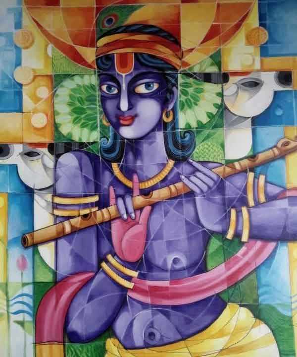 Painting of lord Krishna on canvas