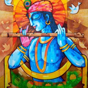 Painting of Krishna on canvas