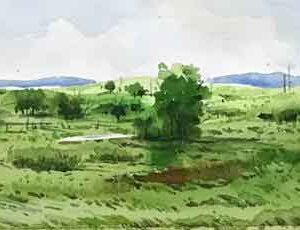 Painting of landscape with watercolour on paper