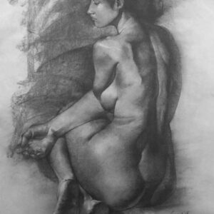 Painting of nude woman with charcoal on paper