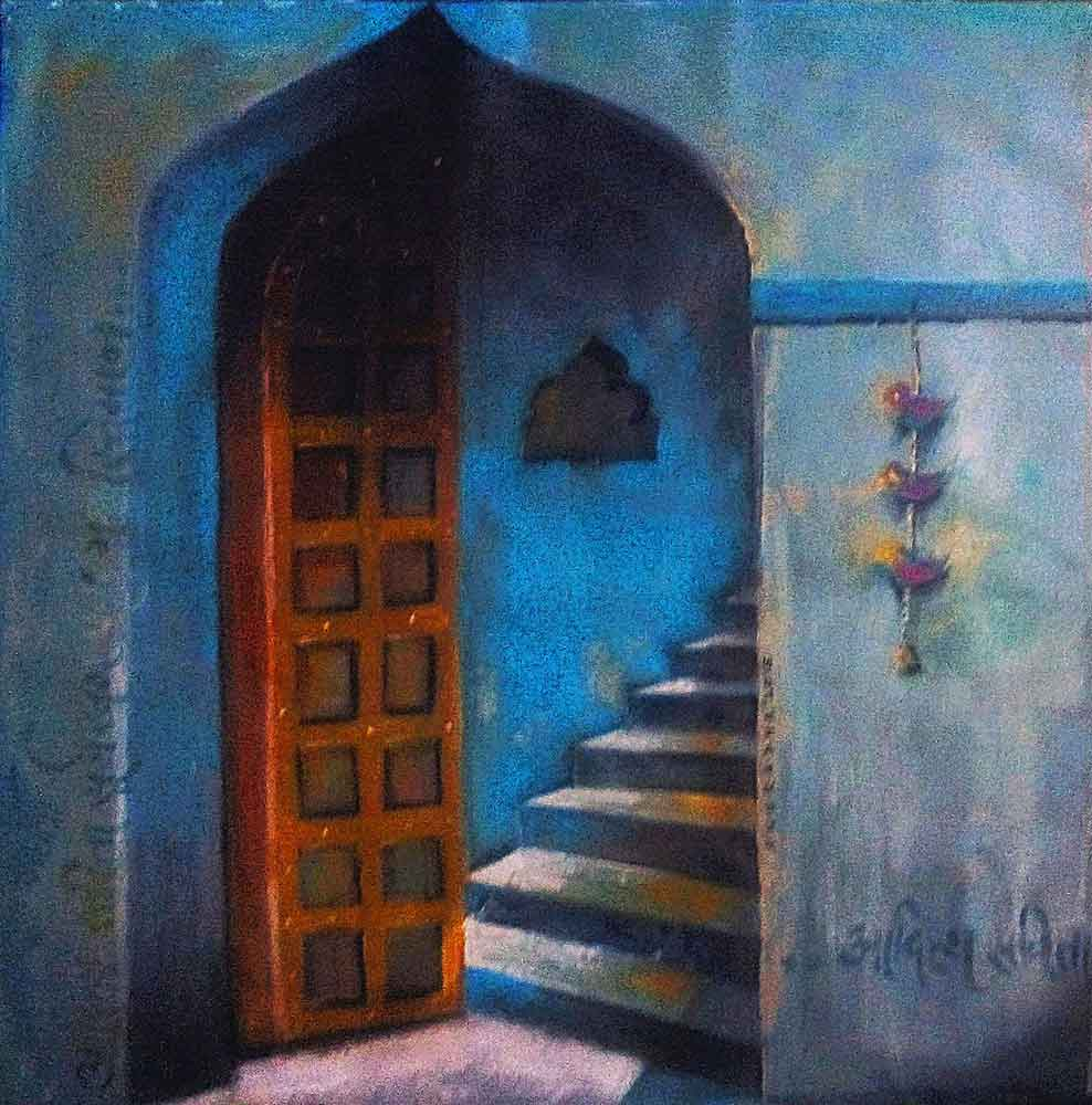 Painting of door and stairs on canvas
