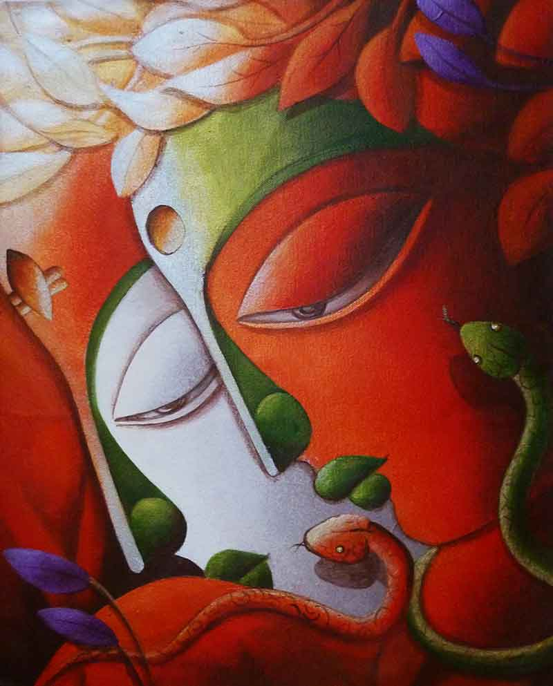 Painting of Lord Shiva on canvas