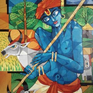Painting of lord Krishna as shepherd on canvas